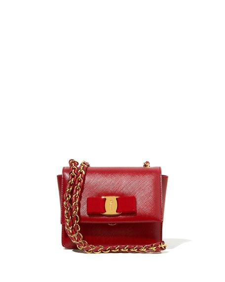 Ginny Mini Saffiano Crossbody Bag, Rosso