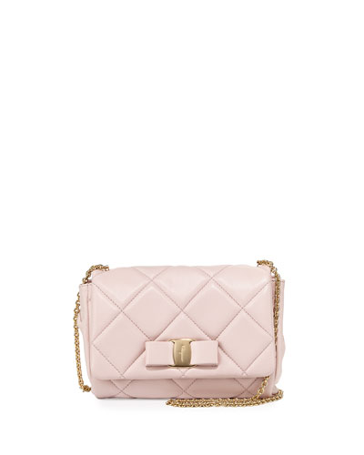 Miss Vara Quilted Mini Crossbody Bag, Macaron/Gold