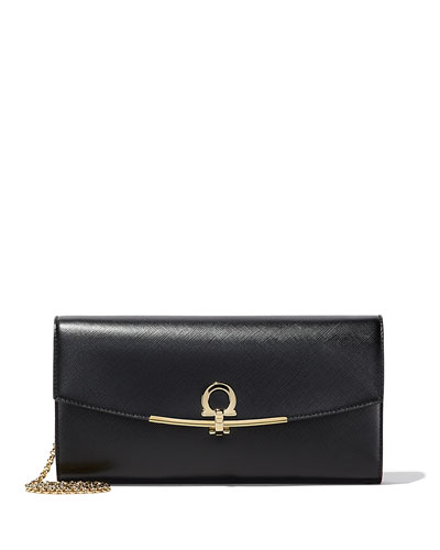Gancini Icona Vitello Wallet-on-a-Chain, Nero