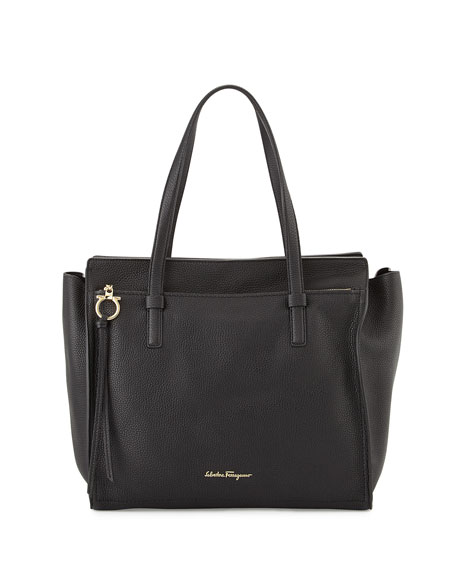 Large Leather Tote Bag Nero