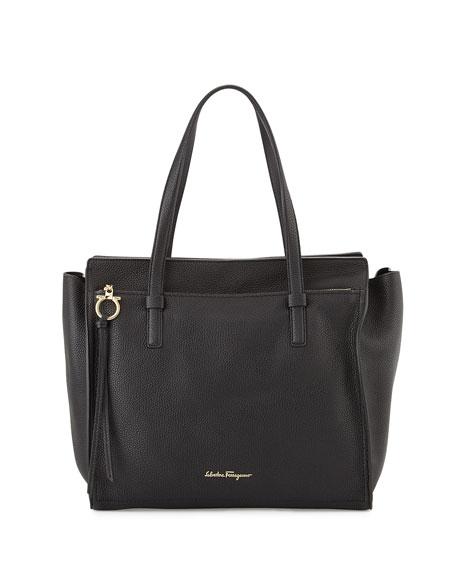 Large Leather Tote Bag, Nero