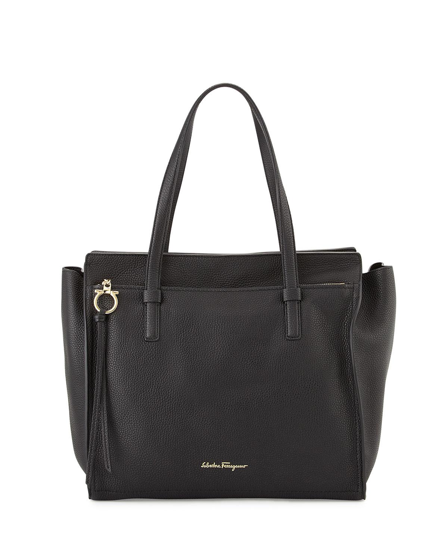 Salvatore Ferragamo Large Leather Tote Bag, Nero   Neiman Marcus b6d3c80e5a