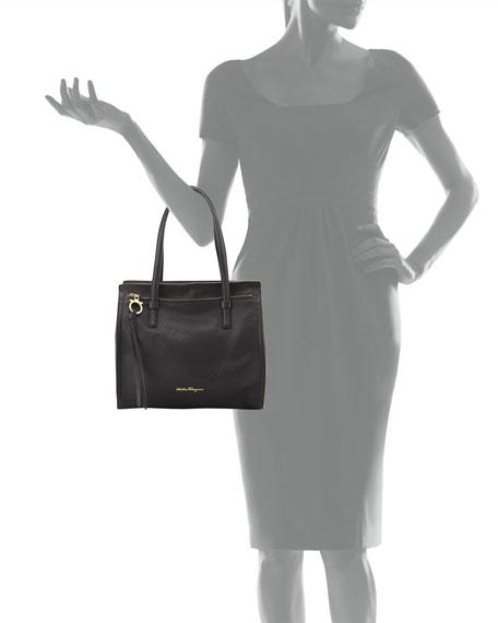 Medium Leather Tote Bag, Nero