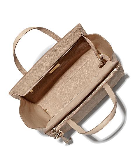 Medium Leather Tote Bag, New Bisque