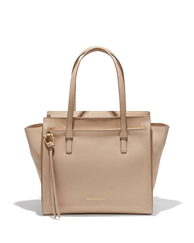 Medium Leather Tote Bag, New Bisque
