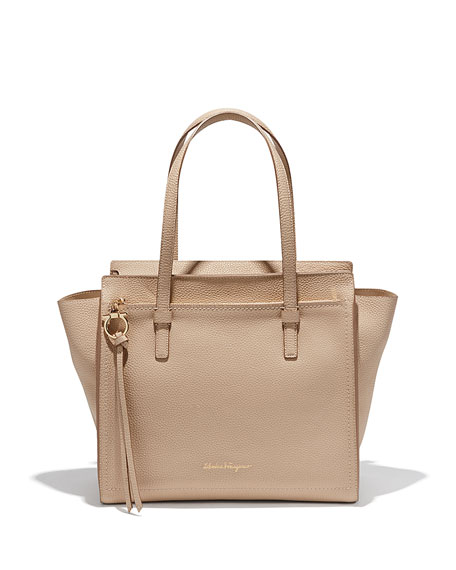 Salvatore Ferragamo Medium Leather Tote Bag, New Bisque