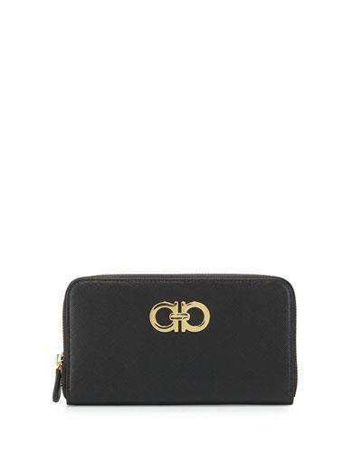 Gancini Icona Saffiano Zip Wallet, Nero