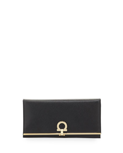 Icona Continental Flap Wallet, Nero