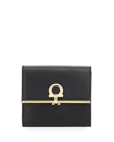Icona Saffiano French Wallet, Nero