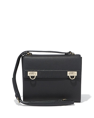 Mya Flip-Lock Leather Shoulder Bag, Nero