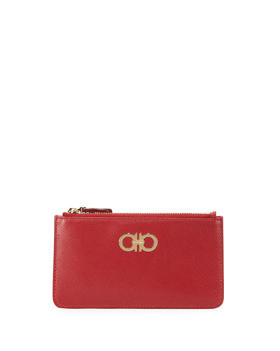 Gancini Icona Zip Card Case, Rosso