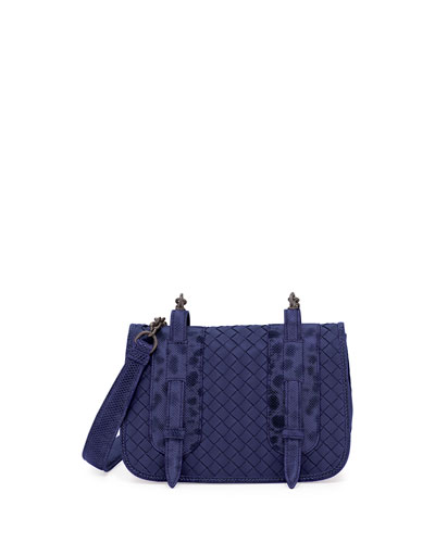 Watersnake & Leather Small Full-Flap Shoulder Bag, Blue