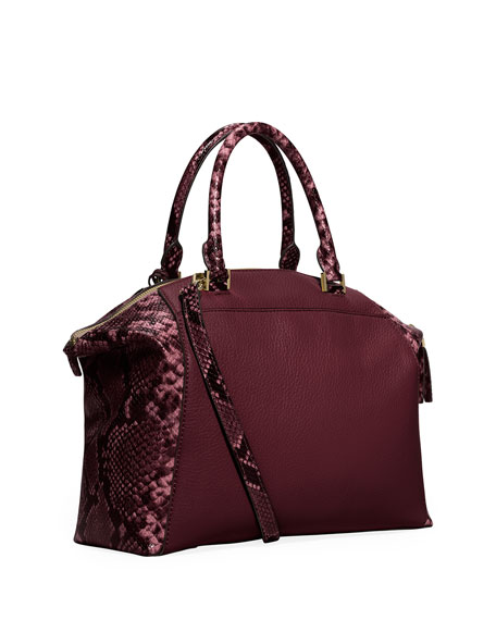 Image 3 of 3: Riley Medium Satchel Bag w/Snake Print, Merlot