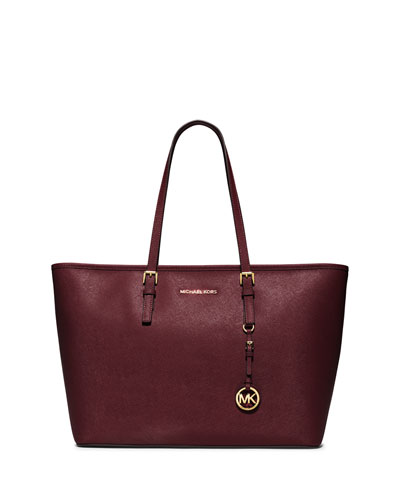 Jet Set Travel Medium Saffiano Multifunction Tote Bag, Merlot