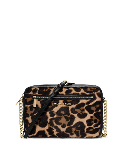Jet Set Large Cheetah-Print Calf Hair Crossbody Bag