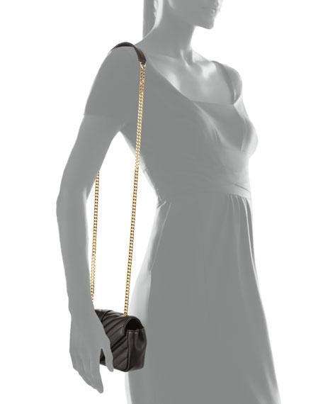 V Flap Lambskin Leather Mini Crossbody Chain Bag, Black