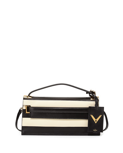 My Rockstud Small Leather Flap Clutch Bag w/ Shoulder Strap, Black/White