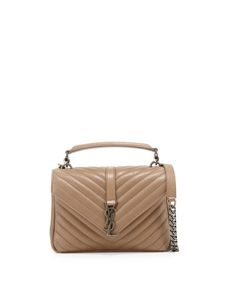 Saint LaurentMonogram Boyfriend Medium Satchel Bag, Taupe