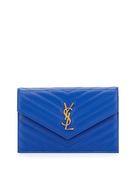 Monogram Chevron Quilted Shoulder Bag, Blue