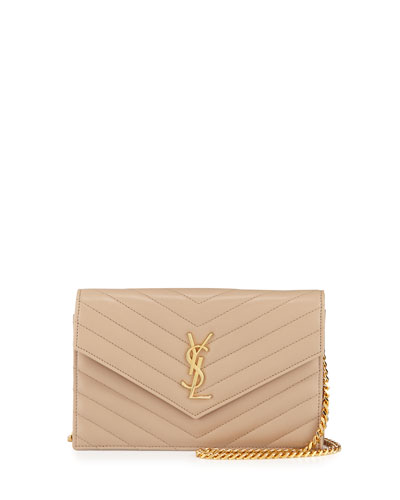 Monogram Medium Lambskin Wallet-on-Chain, Dark Beige