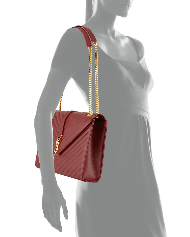 52e0f661d37 Saint Laurent Monogram Matelasse Large Chain Shoulder Bag, Dark Red |  Neiman Marcus