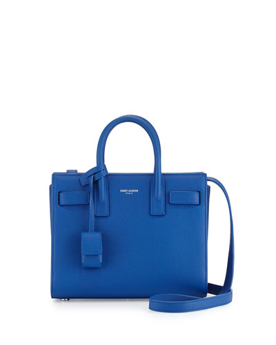 Sac de Jour Mini Grain Leather Crossbody Bag, Blue