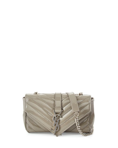 V-Flap Patent Leather Mini Shoulder Chain Bag, Light Gray