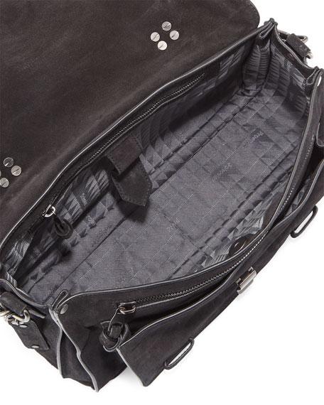 PS1 Medium Suede Satchel Bag, Black