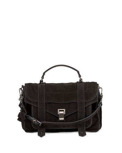 Proenza Schouler PS1 Medium Suede Satchel Bag, Black