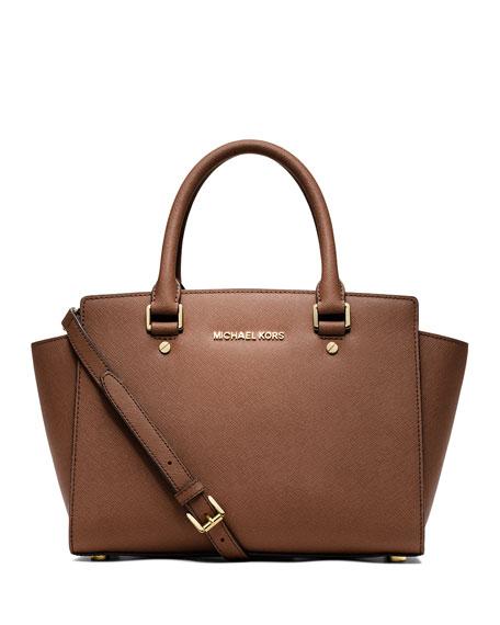 MICHAEL Michael Kors Selma Medium Top-Zip Satchel Bag, Luggage