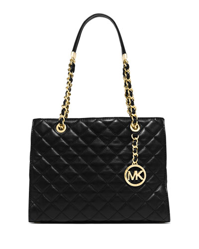 Susannah Medium Quilted Tote Bag, Black