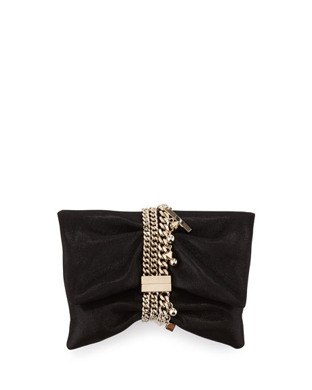 Jimmy Choo Chandra Shimmery Suede Clutch Bag, Black