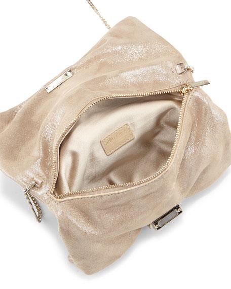 Chandra Metallic Suede Clutch Bag, Sand