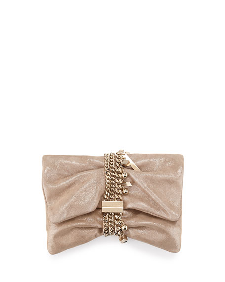 Chandra Metallic Suede Clutch Bag, Sand