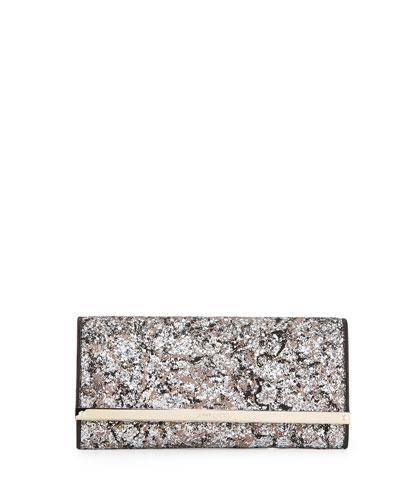 Milla Glitter Clutch Bag, Silver/Beige