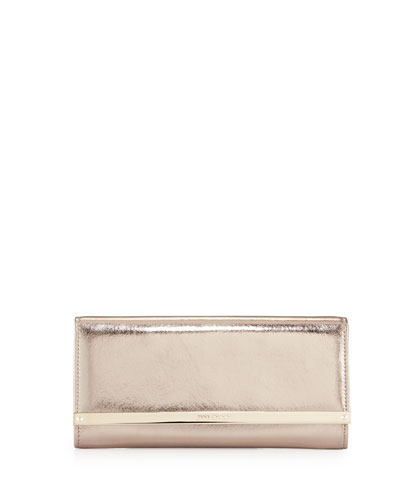 Milla Metallic Leather Clutch Bag, Nude