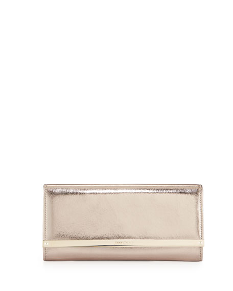 Jimmy Choo Milla Metallic Leather Clutch Bag, Nude