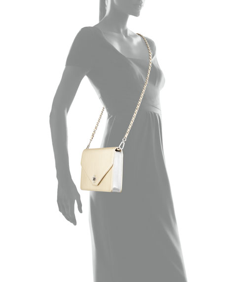 Kira Metallic Leather Envelope Clutch Bag, Light Gold