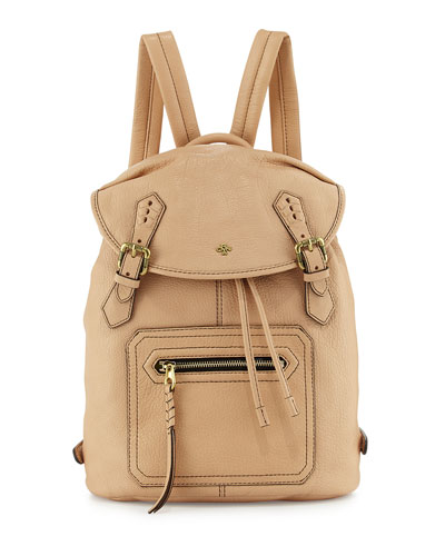 Jaylin Leather Backpack, Almond