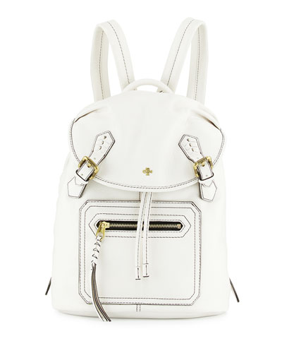 Jaylin Leather Backpack, White