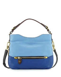 Ellie Leather Hobo Bag, Sky Multi