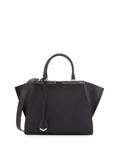 Trois-Jour Medium Bicolor Tote Bag, Black/White