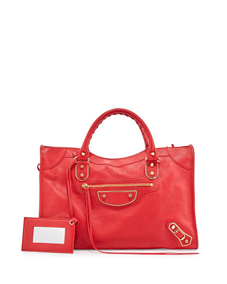 Balenciaga Metallic Edge City Bag, Red
