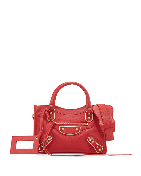 BalenciagaMetallic Edge City Mini AJ Satchel Bag, Red