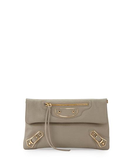 Balenciaga Metallic Edge Envelope Crossbody Bag, Gray