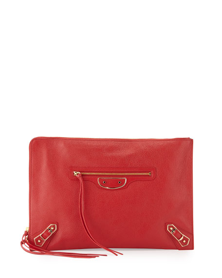 Balenciaga Metallic Edge Flat Zip Pouch Bag, Red