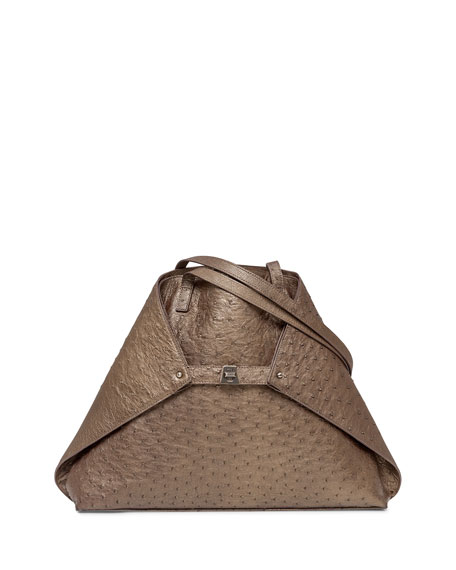Akris Ai Medium Ostrich Tote Bag, Vicuna Metallic