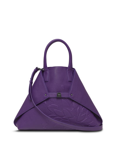 Ai Medium Cervo Leather Messenger Bag, Viola