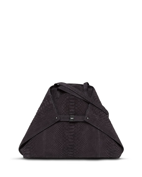 Akris Ai Python Medium Shoulder Bag, Black