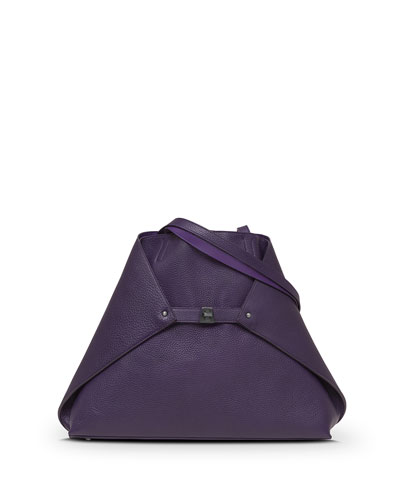 Ai Reversible Medium Cervo Shoulder Tote Bag, Aubergine